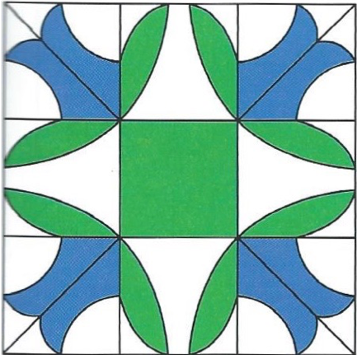A Bluebells quilt square