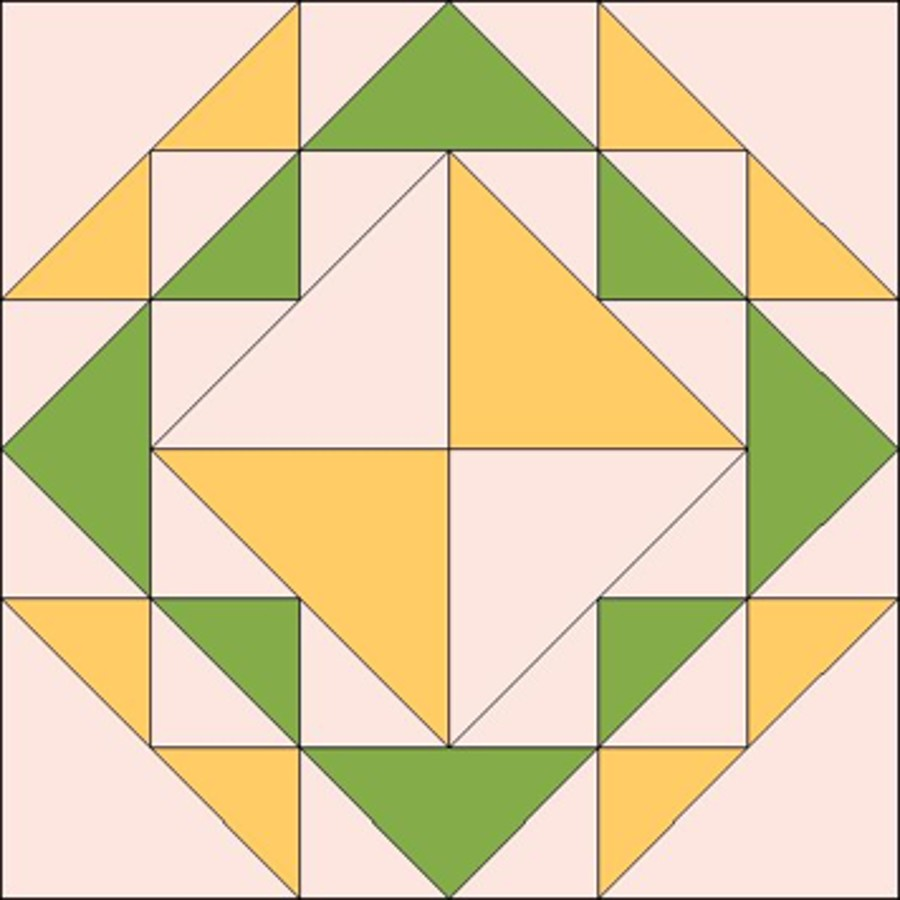 A Corn and Beans quilt square design