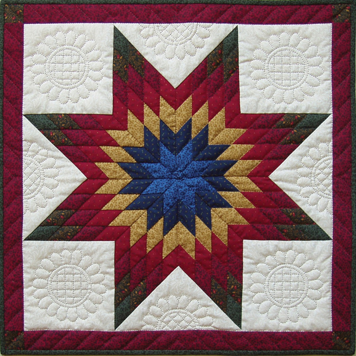 The intricately beautiful Lone Star quilt design.